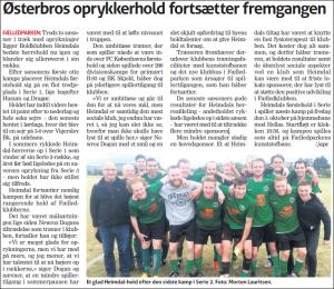 Heimdals herre 1-hold i flot artikel fra Østerbro Avis